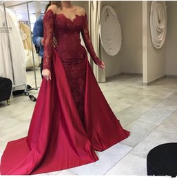evening gowns for plus size ladies 2019 - 2019 burgundy arabic mermaid evening dresses long sleeves overskirt detachable train vintage lace plus size formal prom