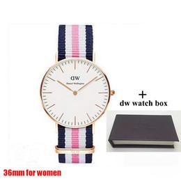 Ingrosso 2018 famoso marchio Daniel donne mens Wellington's WATCH moda cinturino in nylon stile 36mm oro rosa per orologi da donna con scatola regalo relojes
