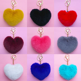 Artificial Chains Wholesalers Australia - Lovely Fluffy Rabbit Ear Fur Anime Key Chain Rings Heart Pendant Cute Pompom Artificial Rabbit Fur Keychain Women Car Bag#S