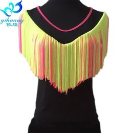 Chinese  Ldies Latin Dancing Costume Top Girls Ballroom Salsa Rumba Samba Dance Blouse Competition Training Tops Fringe S M L 4 Colors manufacturers