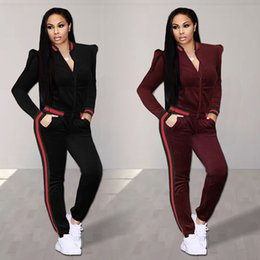 $enCountryForm.capitalKeyWord Canada - Womens Casual Fashion Autumn Winter Velvet Long Sleeved Tops Jacket Two-piece Jogger Set Ladies Tracksuit Sweat Suits