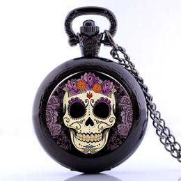 Halloween Ceramic Skull NZ - New Antique Skull Flowers Mens Womens Quartz Pocket Watch Analog Pendant Necklace Chain Halloween Gifts relogio de bolso