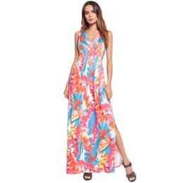$enCountryForm.capitalKeyWord UK - V collar summer Bohemia style new women clothes beach fork long skirt printed dress Leisure time fashion design dresses