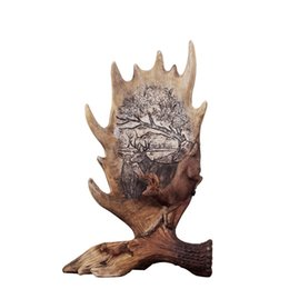 european curtains UK - SaiDeKe European vintage Christmas deer figurine ornaments crafts retro Elk antlers Miniatures for Home decoration accessories