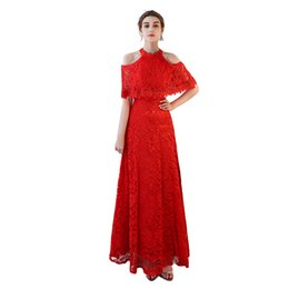 $enCountryForm.capitalKeyWord NZ - High Quality Red Full Lace Long Evening Dress O-Neck Strapless Short Sleeve Floor Length Backless Lace Up A-Line Short Sleeve Plus Size