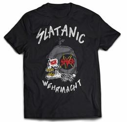 Musical Mayhem Slayer - Slatanic Wehrmacht '85 Tour T-Shirt Raro Do Vintage Dupla Face 100% Algodão T Camisas para Homem Top Tee em Promoção