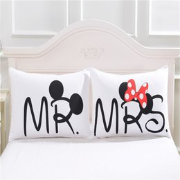 Valentine Pillows Gift Canada - Mr & Mrs Pillowcase Lovely Cartoon Pillow Cases Fancy Design Pillow Covers For Children Lovers Couples Valentine Wedding Gift