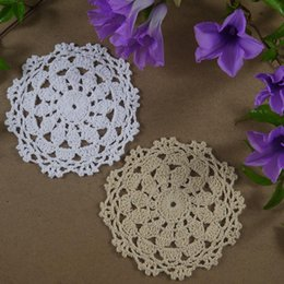 Crochet tablecloths patterns online crochet tablecloths patterns wholesale handmade crochet pattern placemats doily cup pad mats tablecloth coasters round dial 12cm white beige dt1010fo