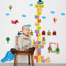 Large Pictures For Walls Australia - Building Blocks Growth Chart Wall Sticker Wallpaper Wall Picture Art Vintage Room Home Decor Kitchen Accessories Household Craft Suppllies