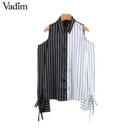 e5c2858de69 Vadim women elegant off shoulder striped blouse bow tie split sleeve shirt  blusas mujer female casual chic brand tops LT2393