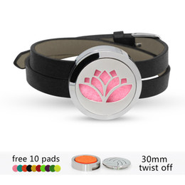 lotus flower bracelets Australia - Lotus Flower 316 L stainless steel Perfume Essential oil Diffuser Locket bracelet bangle 30mm locket Black Pu leather with 10pads randomly