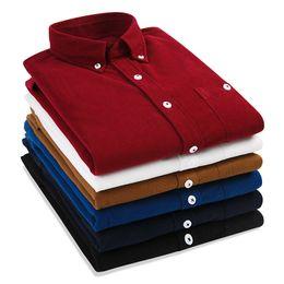 $enCountryForm.capitalKeyWord NZ - 100%cotton Corduroy Shirts Men's stripe Casual Vintage Shirts Solid Color Flannel Male Long Sleeve Shirt Man Tops Brand Clothing