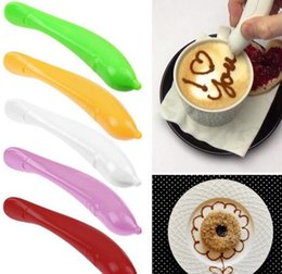 $enCountryForm.capitalKeyWord NZ - Cute Bird Flower Pen Cake Colorful Coffee Carved Pen Decoration Pen Coffee Carving Pens Pastry Carving Cutter Baking Tool
