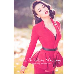 74c9e1b9c Le paLais vintage online shopping - Le Palais Vintage Retro Red removable  flounce wool woolen slim