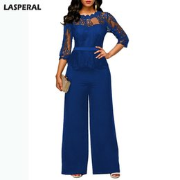 China LASPERAL Fashion Casual Wide Leg Rompers Women Elegant Evening Party Lace Patchwork Sexy Playsuits Bodysuits Formal Jumpsuits supplier evening rompers suppliers