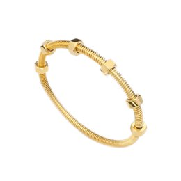 Wholesale whole saleJSBAO Women Fashion Style Gold Colour Stainless Steel With Nuts Can Move Screw Cuff Bracelet Bangle For Women Fashion Jewelry