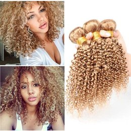 Discount 14 inches curly hair New Arrive Brazilian Blonde Human Hair Bundles #27 Colored Jerry Kinky Curly Hair Extension Unprocessed Brazilian Virgin