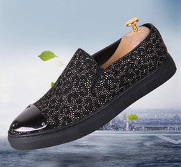 $enCountryForm.capitalKeyWord NZ - 2018 Hot Style Strass Men Loafers Black Suede Crystal Rhinestones Slippers Party Wedding Dress Shoes Men's Flats Leather Many N289