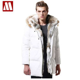 Discount men s winter jacket fur hood Winter New Warm Thick Jacket Mens High Quality Fur Hood White duck down Keep Leisure Jacket Male Coat Plus Size 3XL 4XL 5XL