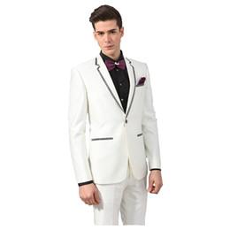 d4907c47bc45e ... blancos trajes de los hombres del novio de la boda del smoking  adaptados chaqueta de la chaqueta del mens borde negro fiesta de graduación  2 pedazos