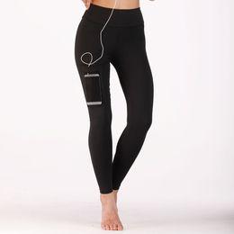 152fb87268d5f 2018 venta caliente elástico de cintura alta mujeres pantalones de yoga con  bolsillo de compresión de secado rápido empuja hacia arriba para mujer ...