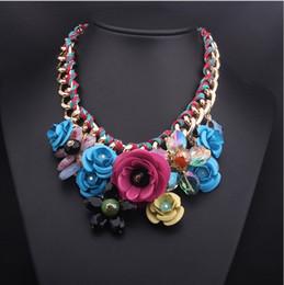 $enCountryForm.capitalKeyWord NZ - Hot Sale Bib Collar Statement Necklace Handmade Woven Chain Crystal Choker Chunky Multi- Colour Flower Bib Statement Necklace Women Jewelry