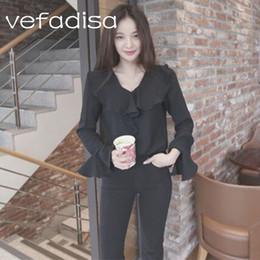$enCountryForm.capitalKeyWord Canada - Vefadisa 2018 Spring Blouse Shirt Cotton Blends Top Ruffles Decoration Womens Clothing Flare Sleeve Fashion Black Shirt AD306