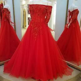 $enCountryForm.capitalKeyWord NZ - 2019 Red Evening Dresses Long Sleeves Corset Back Off The Shoulder Tulle Beading Long A-Line Floor Length Evening Party Dresses Real Photos