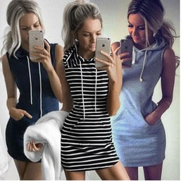 41a647a9fc Women Sexy Striped Bodycon Dress Evening Party Cocktail Casual Sleeveless  Mini Stripe Hooded Slim Dresses Home Clothing 3 colors AAA1091