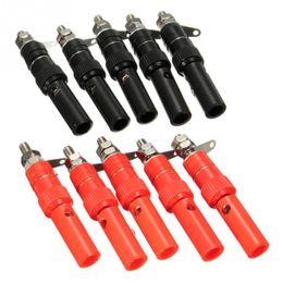10 Pairs Terminale in cavo di alimentazione in lega di zinco da 4 mm Connettori a spina presa jack Banana adattatore maschio per sonde Binding Post Red Black