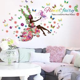 self stick flower decals 2019 - DIY Wall Art Decal Decoration Fashion Fairy Flower Girl Wall Sticker Butterfly Stickers 9004. Home Decor Kids Room Wallp