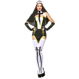 New Arrivel Sexy Nun Costume Adult Women Cosplay Dress Hood For Halloween  Nun Cosplay Party Costume Carnival Clothing b3c10754a4e3