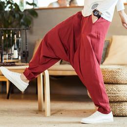HipHop dance costumes online shopping - New Mens Fashion Low Crotch Harem Pants High street Sports Dance Sweatpants Baggy Casual Cotton Linen Trousers HipHop Male Costume