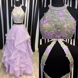 Barato Alto Pescoço Roxo Vestidos De Baile-Light Purple Two Piece Prom Dresses High Neck Appliques Beaded Tiered Organza Backless Lilac Prom Dresses Watermelon Sweet 16 Dress