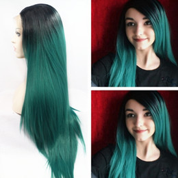 synthetic lace wig fiber 2019 - 2 Tones Long Silky Straight Ombre Black to Green Cosplay Wig Glueless Brazilian Synthetic Lace Front Wig with Heat Resis