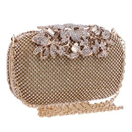 Chinese  Flower Crystal Evening Bag Clutch Bags Clutches Wedding Purse Rhinestones Wedding Handbags Silver Gold Black Evening Bag manufacturers