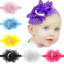 photography prop pearls Canada - 30PCS Stylish Baby Chiffon Pearl Beaded Headband Kids Rose Satin Bow Headdress Flower Infants Hairband Children Head Wear Photography Prop
