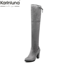 922771301febf Karinluna 2018 Large Size 32-43 Hot Sale Winter Boots Lace Up Elegant Woman  Shoes Chunky Heels Over The Knee Boots Shoes Women