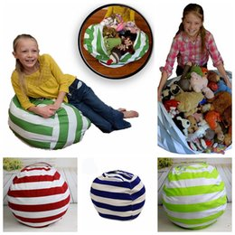 color bean bag chair NZ - 18 Inch Kids Storage Bean Bags Plush Toys Beanbag Chair Bedroom Stuffed Animal Room Mats 5 Color Portable Clothes Storage Bag OOA4433