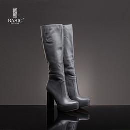 Ingrosso Edizioni di base Stivali da donna Winter Dress Scarpe lunghe con tacco alto in vera pelle - ZH464-05