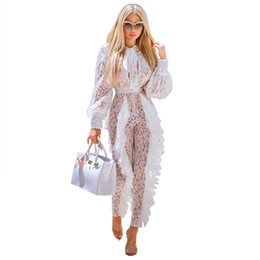 ruffle jumpsuit women UK - Sheer Long Sleeve White Lace Jumpsuit for Women Sexy See Through Floral Ruffles Hollow Out Bodycon Rompers Christmas Night Club Overalls