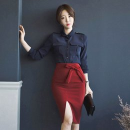 Packaging Bows Australia - 2018 Autumn new sexy slit bow wild simple and elegant package skirt And temperament was thin wild Navy shirt two piece