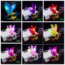 Venetian decorations online shopping - Glowing party mask Mini LED Feather Mask Halloween Decoration Venetian Masquerade Flower Beads Princess Party Masks GGA1056