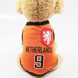 Red dot dog clothes online shopping - Russia Coat Fashion Summer Dog Clothes Vest For Small Dogs Pet Jacket Personality Football Team Dogs Word Cup Shirts