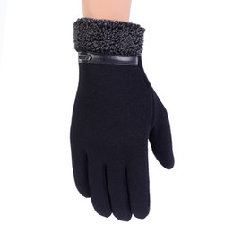 mittens fingers UK - New Winter Autumn Finger Men Gloves Screen Fashion Male Thicken Warm Cashmere Solid Glove Men Mittens Guantes Invierno Hombre