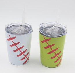 $enCountryForm.capitalKeyWord NZ - 9oz Kids Cup with Lid Straw Double Wall Stainless Steel Tumblers Baseball Softball Coffee Mug Drinkware Flask IN STOCK