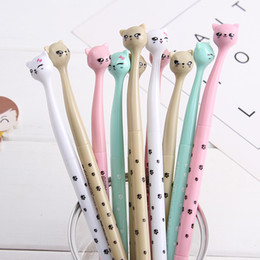 $enCountryForm.capitalKeyWord NZ - (1pcs sell) Crooked Cat Head Gel Pen Set Key Kawaii School Supplies Office Stationary Photo Album Kawaii Pens School Stationery