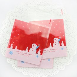 biscuit snack bags 2019 - 1000pcs South Korea Baking Packaging Christmas Snowman Bag Snacks Biscuit Bag cake Bags Adhesive Bags cheap biscuit snac