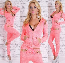 Pink Body Suits NZ - PINK Women's suit, autumn high quality sports suit, long sleeves + trousers, 2 sets of body-building costumes, yoga suits.