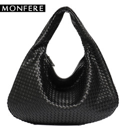 navy chain handbag Australia - MONFERE Brand New Vegan Leather Hobo Bag Handmade Woven Casual Female Handbag Big Capacity Patchwork Zipper Women Shoulder Bags Y18102304